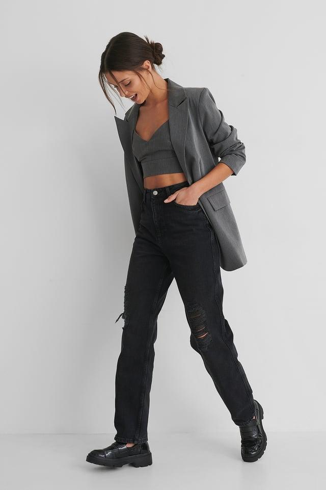 Black Biologique Jean Déchiré Droit Taille Haute