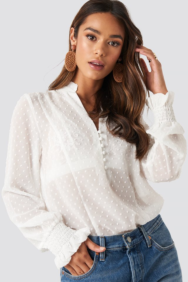 White Dobby Flowy Buttoned Blouse