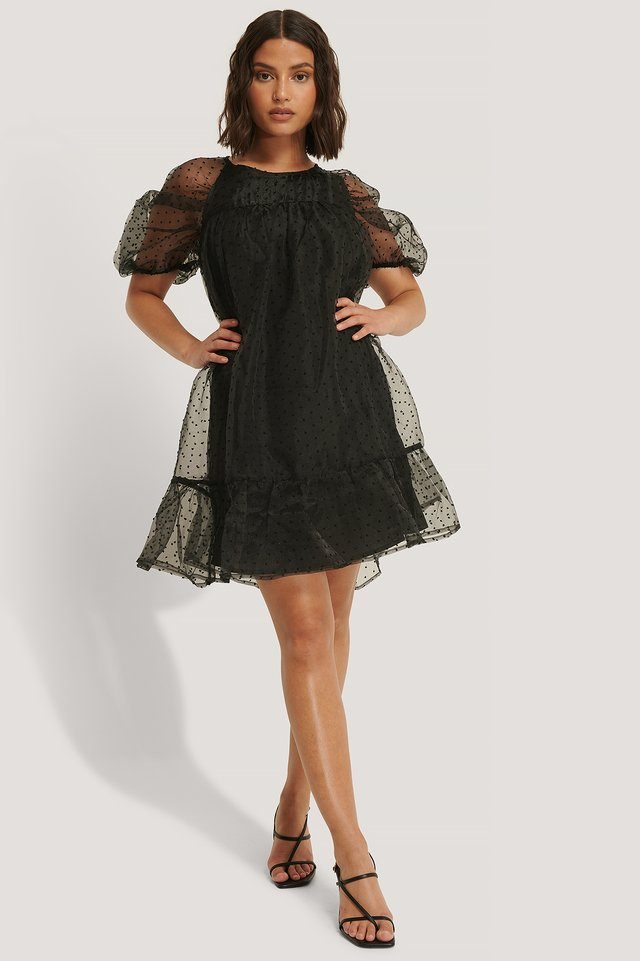 Dobby Organza Mini Dress Black