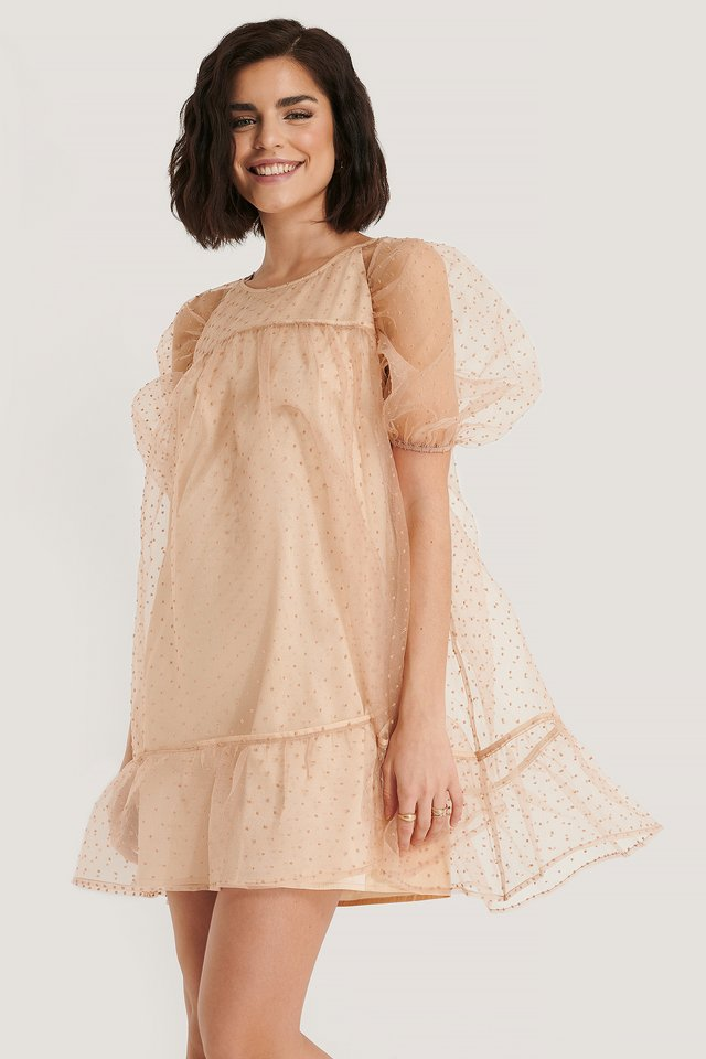 Dobby Organza Mini Dress Dusty Pink