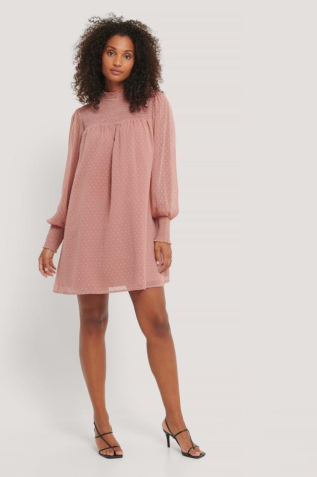 Robe Dobby À Smocks Dusty Pink