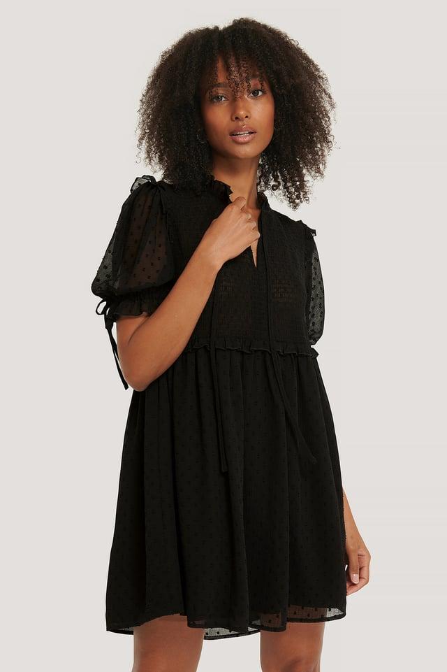 Robe Dobby À Smocks Black
