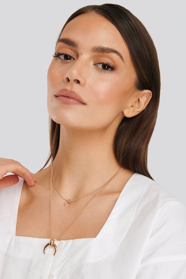 Gold Double Crescent Pendant Necklace