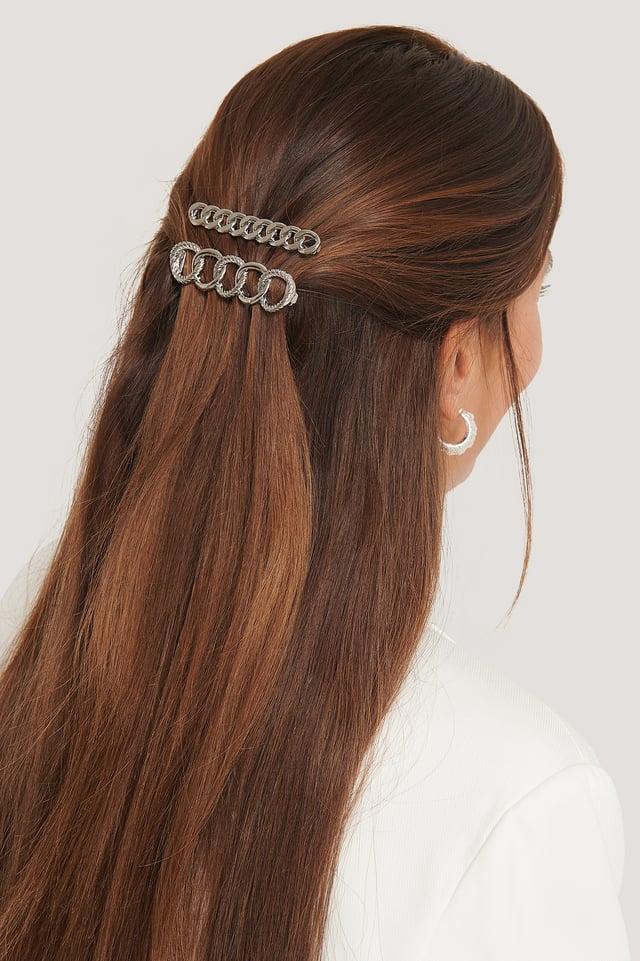 Lot De Deux Pinces À Cheveux À Chaîne Silver
