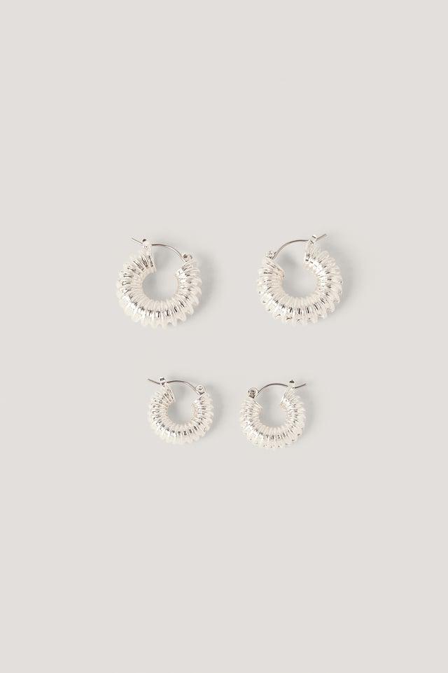 Lot De Deux Paires De Créoles Épaisses Gaufrées Silver