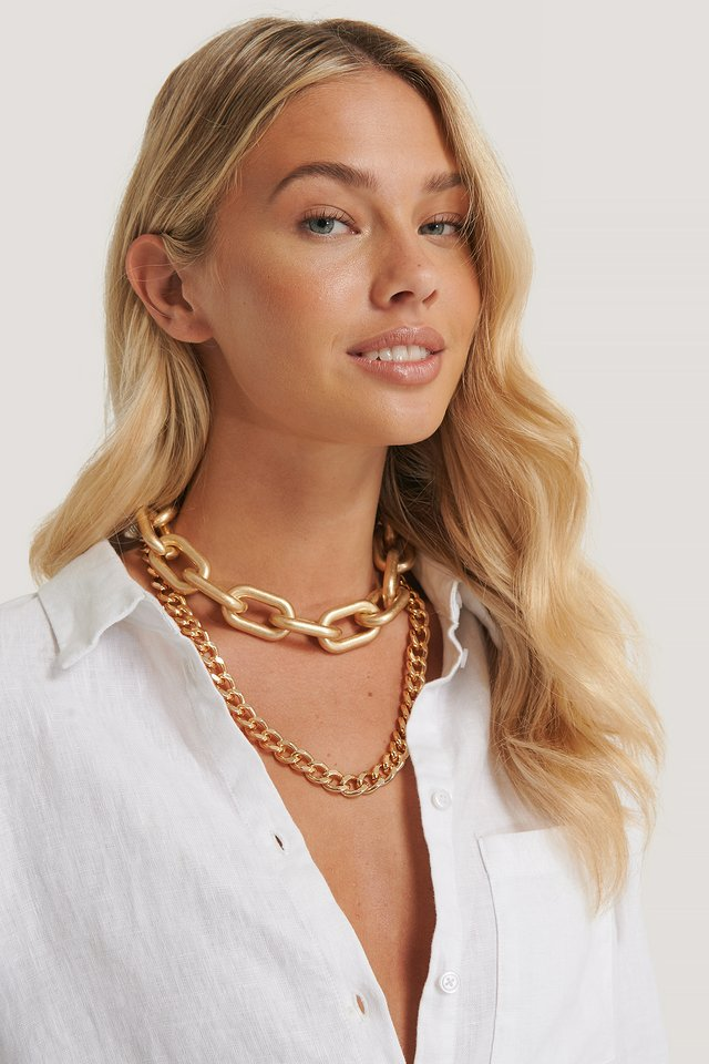 Double Pack Oversize Chain Necklaces Gold