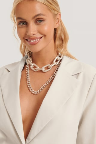 Silver Double Pack Oversize Chain Necklaces