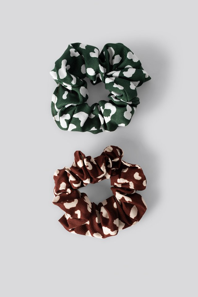Double Pack Patterned Scrunchies Burgundy/Petrol