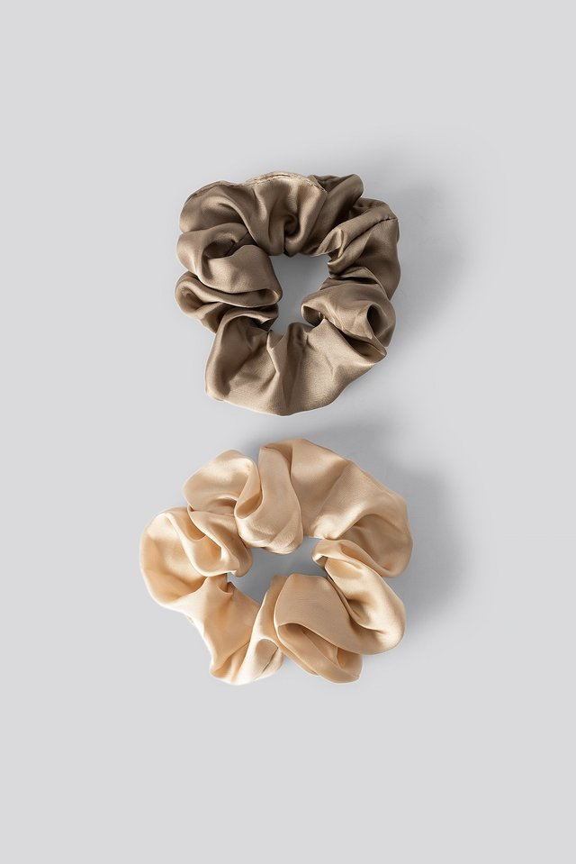 Double Pack Shiny Satin Scrunchies Taupe/Soft Gold