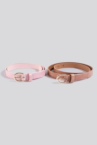 Pink/Beige Double Pack Slim Belts