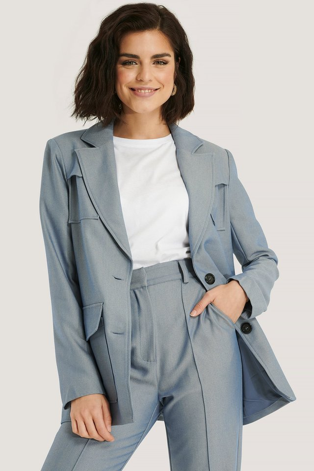 Light Blue Blazer À Double Poche