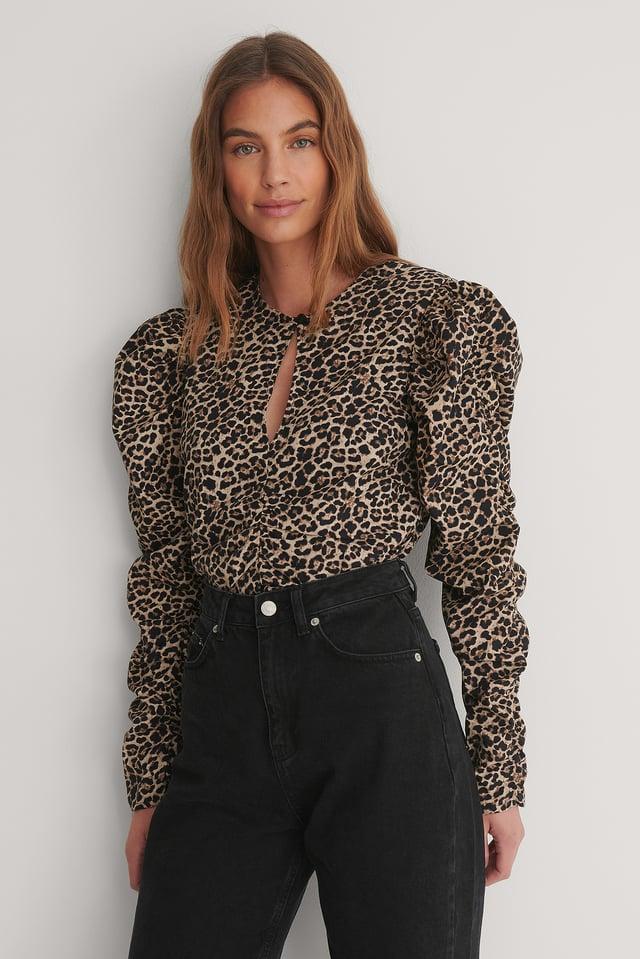 Leopard Chemisier Drapé Ouvert