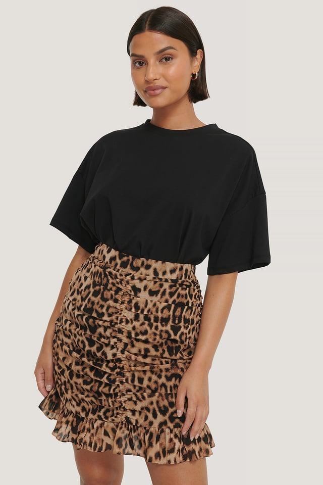 Leopard Jupe Courte Transparente Drapée