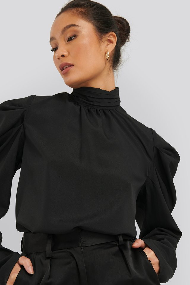 Draped Sleeve Blouse Black