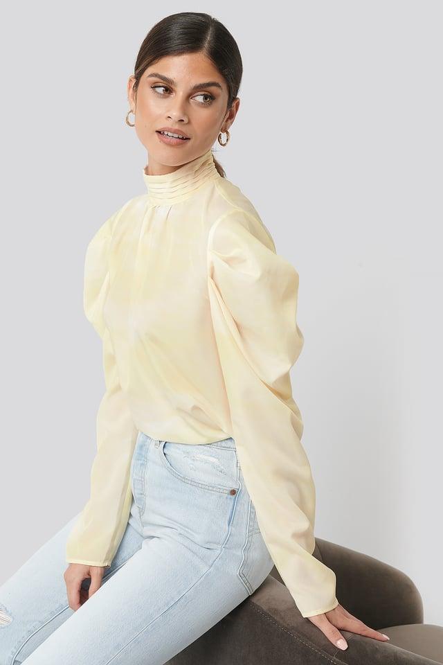 Yellow Draped Sleeve Blouse