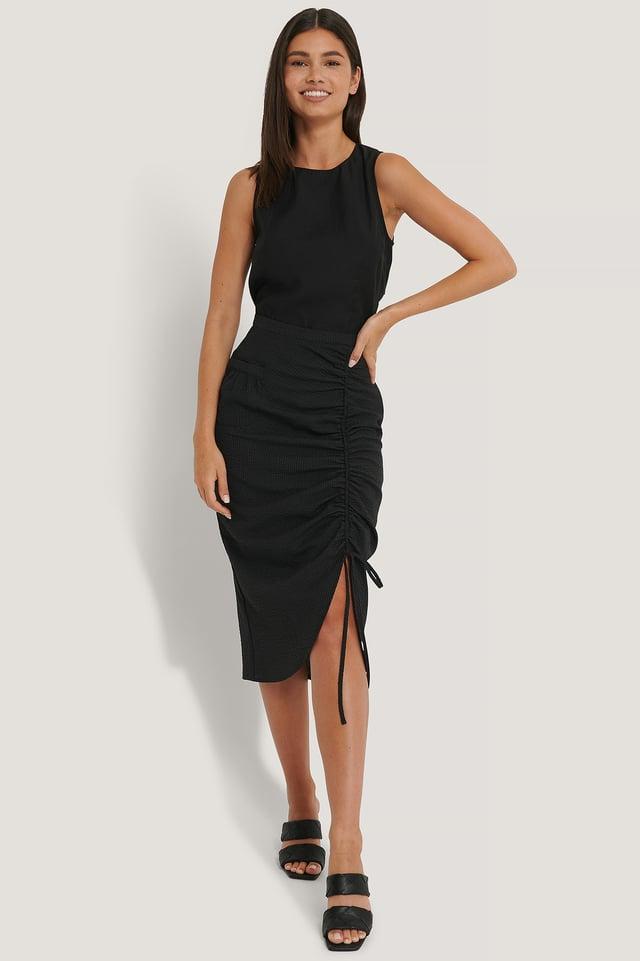 Jupe Mi-Longue Taille Haute Fendue Sur Le Côté Black