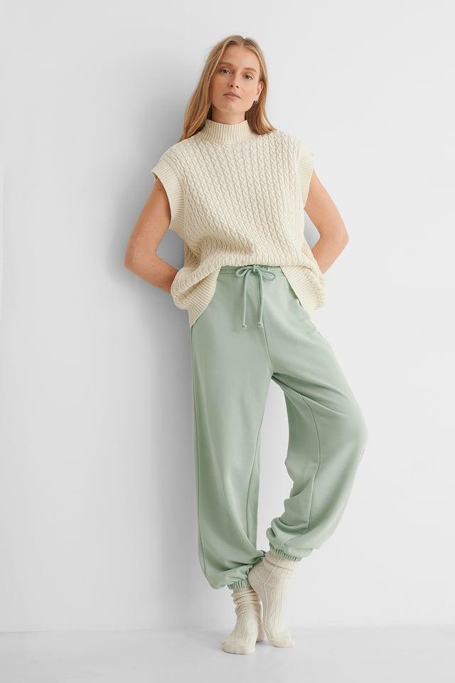 Biologiques Pantalon De Survêtement À Cordon Dusty Green