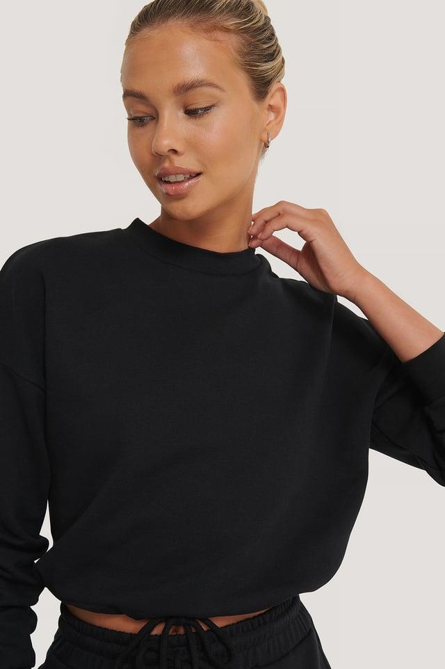 Black Biologique Sweatshirt À Cordon