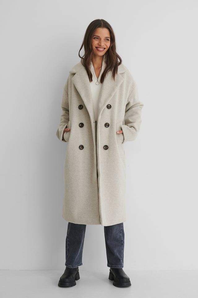Manteau Long White/Grey