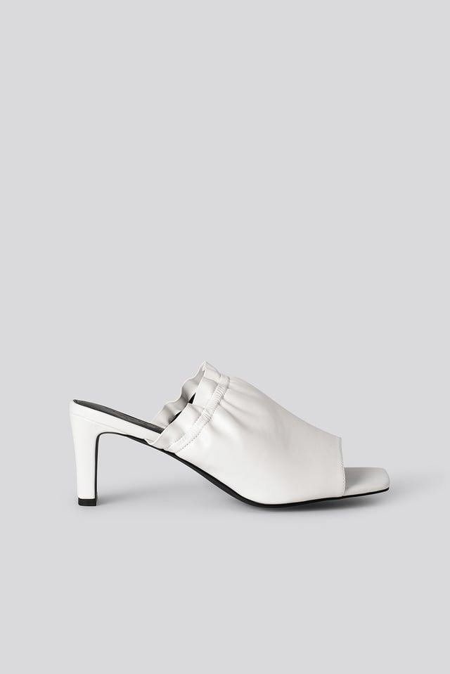 White Elastic Mules