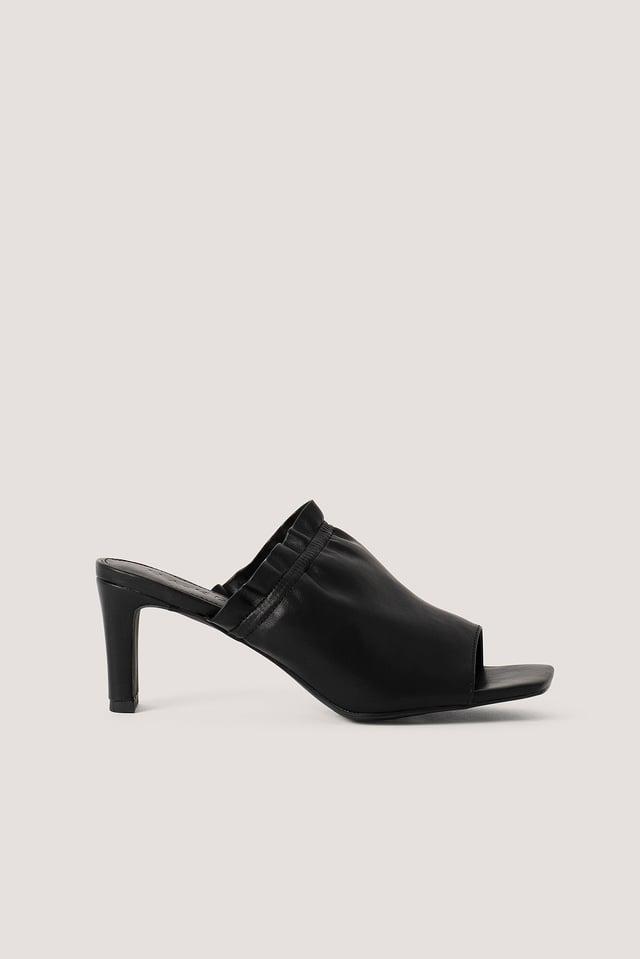 Black Elastic Mules