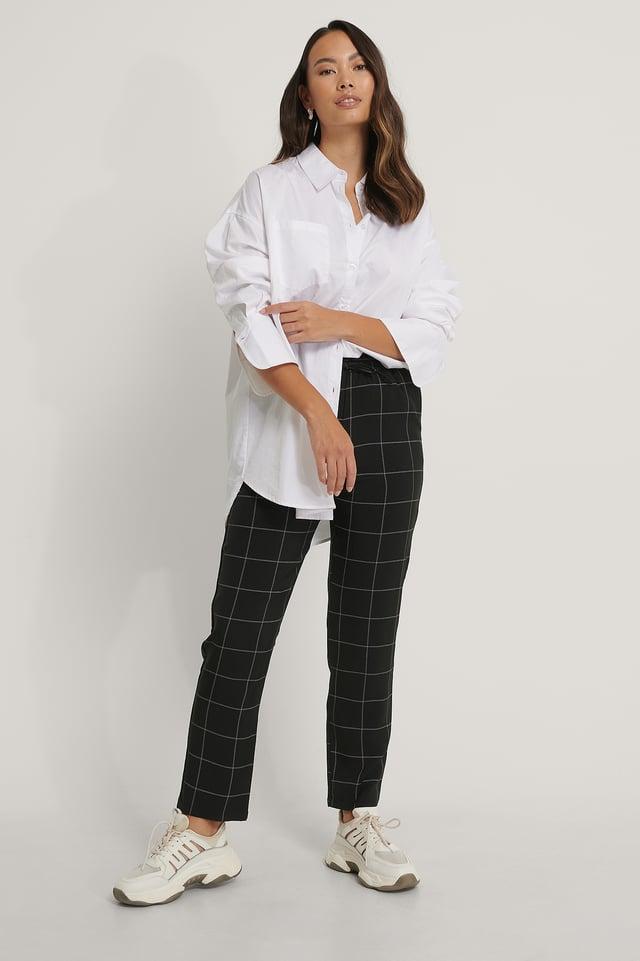 Pantalon Taille Élastique À Carreaux Black/White