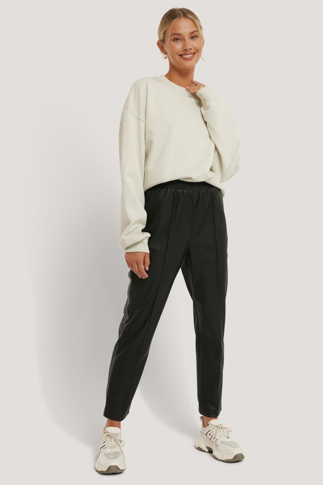 Black Recyclé Pantalon En Faux Cuir Taille Élastique