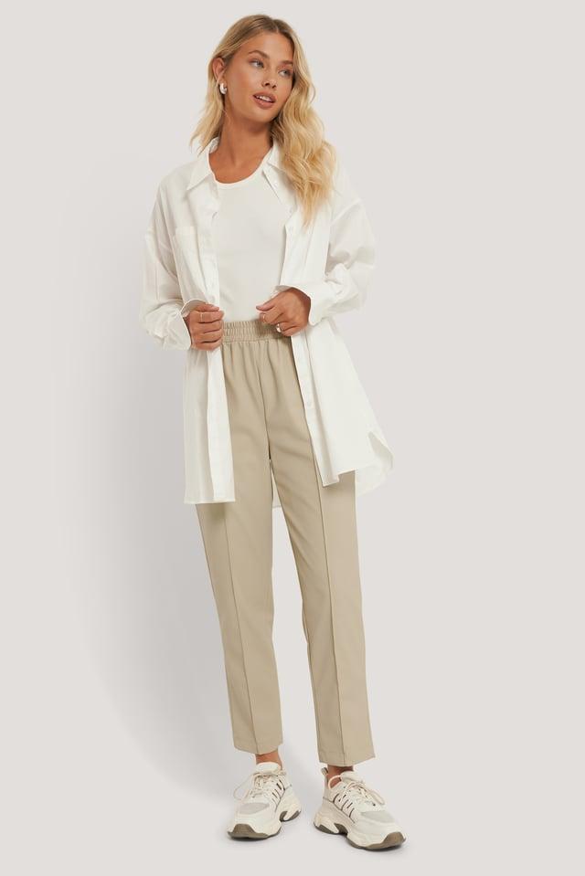 Recyclé Pantalon En Faux Cuir Taille Élastique Beige
