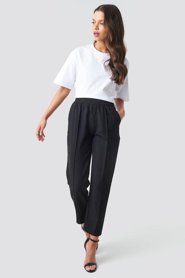 Black Elastic Waist Seamline Pants