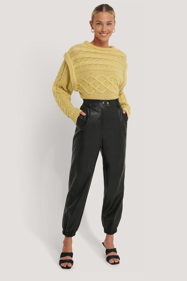Black Pantalon En Faux Cuir Élastique