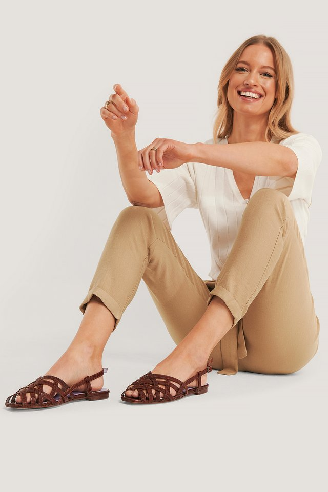 Brown Croco Sandales