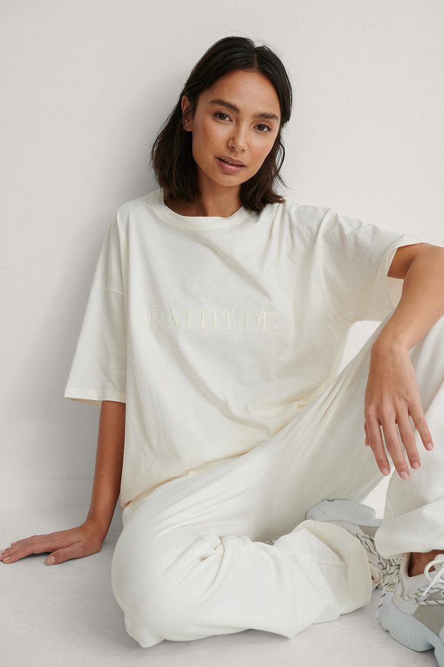 Offwhite Biologique T-shirt Boxy Broderie