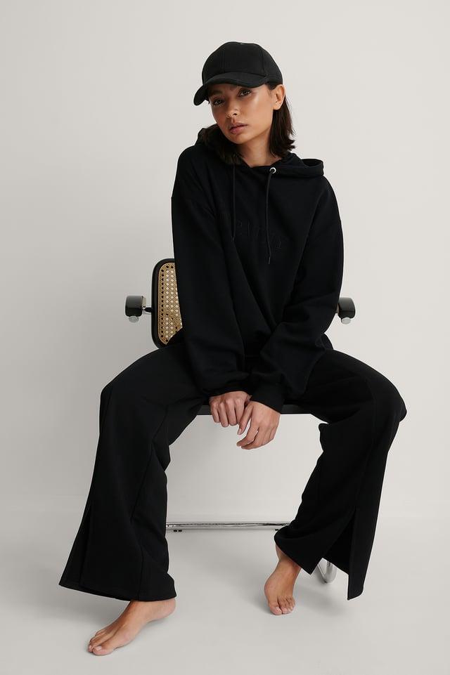 Black Biologique Sweatshirt Broderie Oversize
