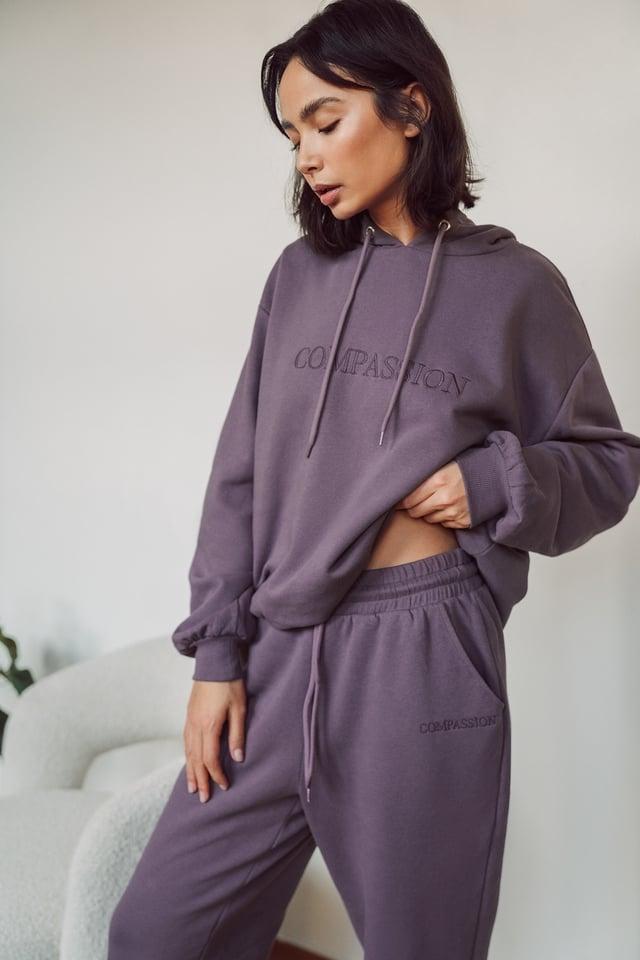 Purple Biologique Sweatshirt Broderie Oversize