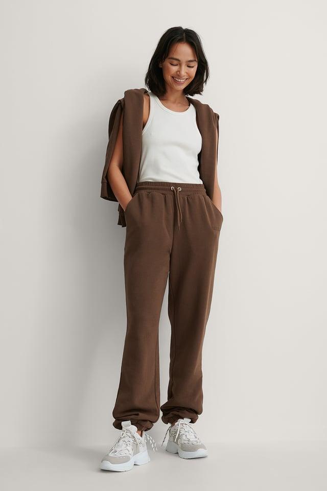 Brown Biologique Pantalon De Survêtement Broderie