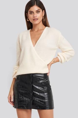 Black Embossed Croco Pu Mini Skirt