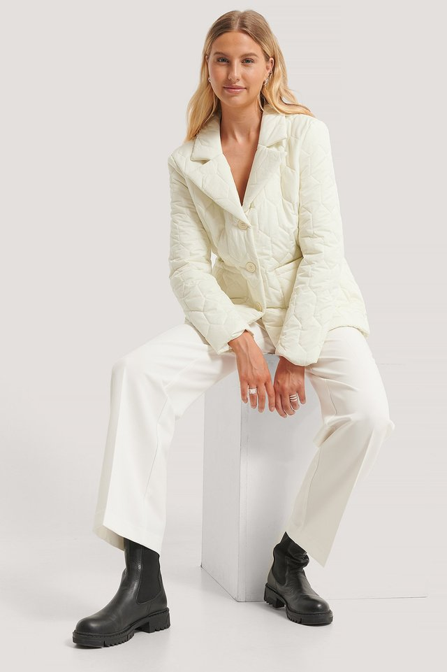 Veste Matelassée Surdimensionnée Off White