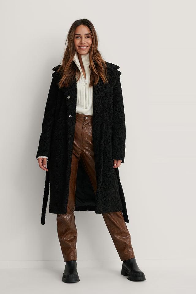 Black Manteau Long En Peluche Avec Ceinture