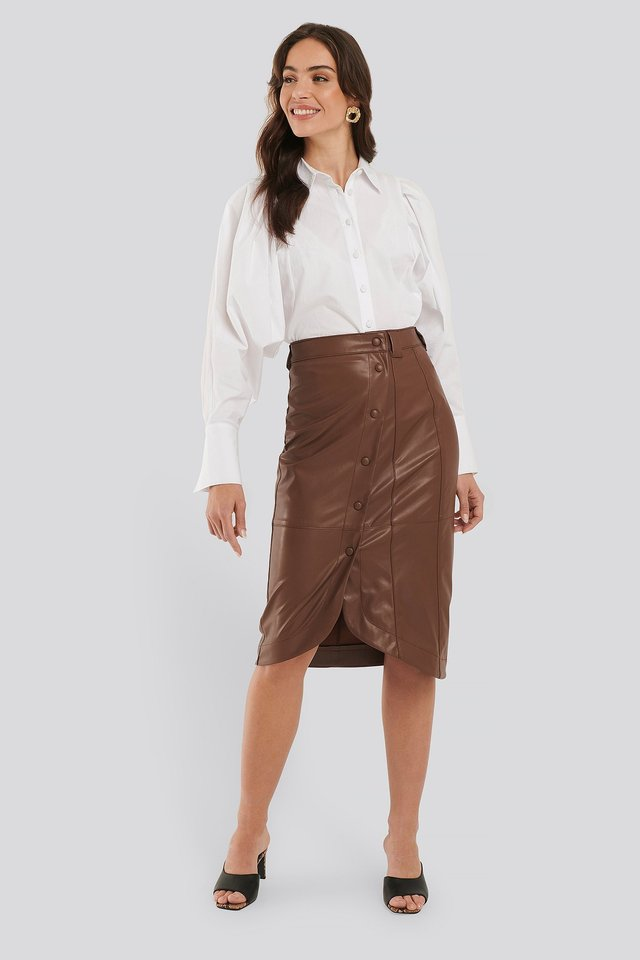 Brown Faux Leather Wrap Skirt