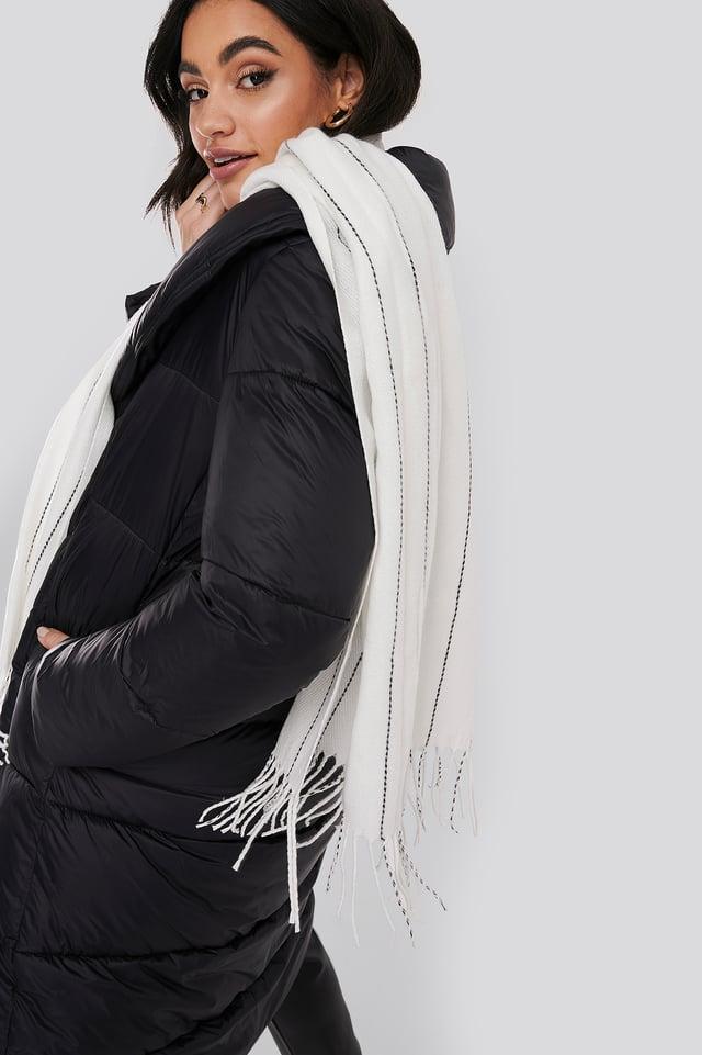 White Fine Striped Woven Scarf