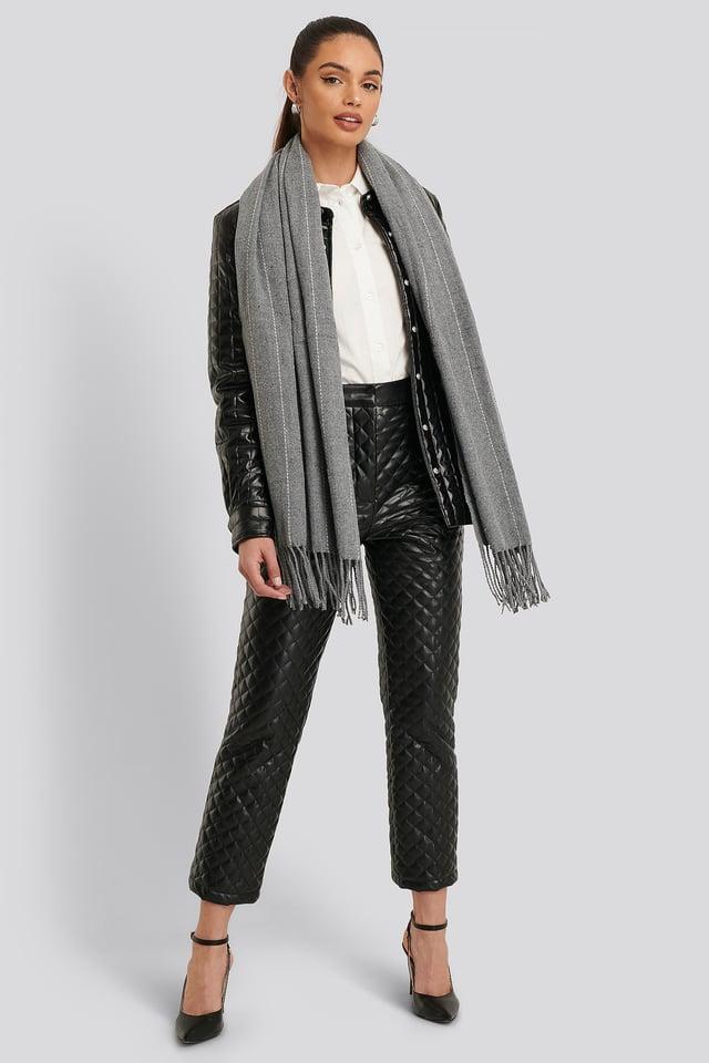 Fine Striped Woven Scarf Grey