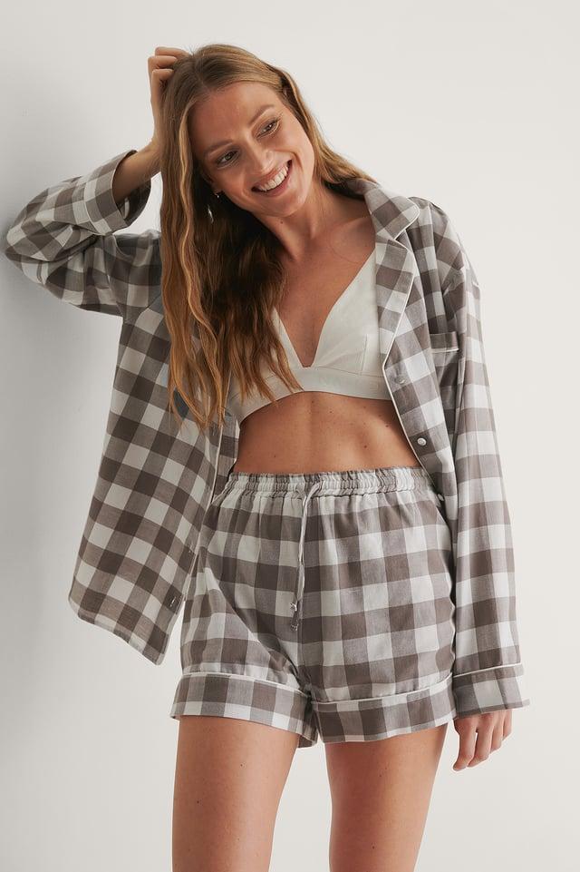 Grey Check Flannel Pyjamas Shorts