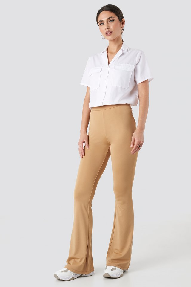 Tan Flared Leggings