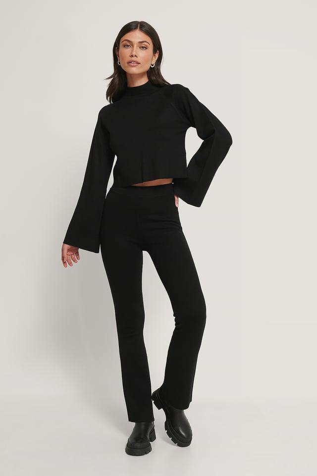 Pantalon D'Intérieur Évasé Black