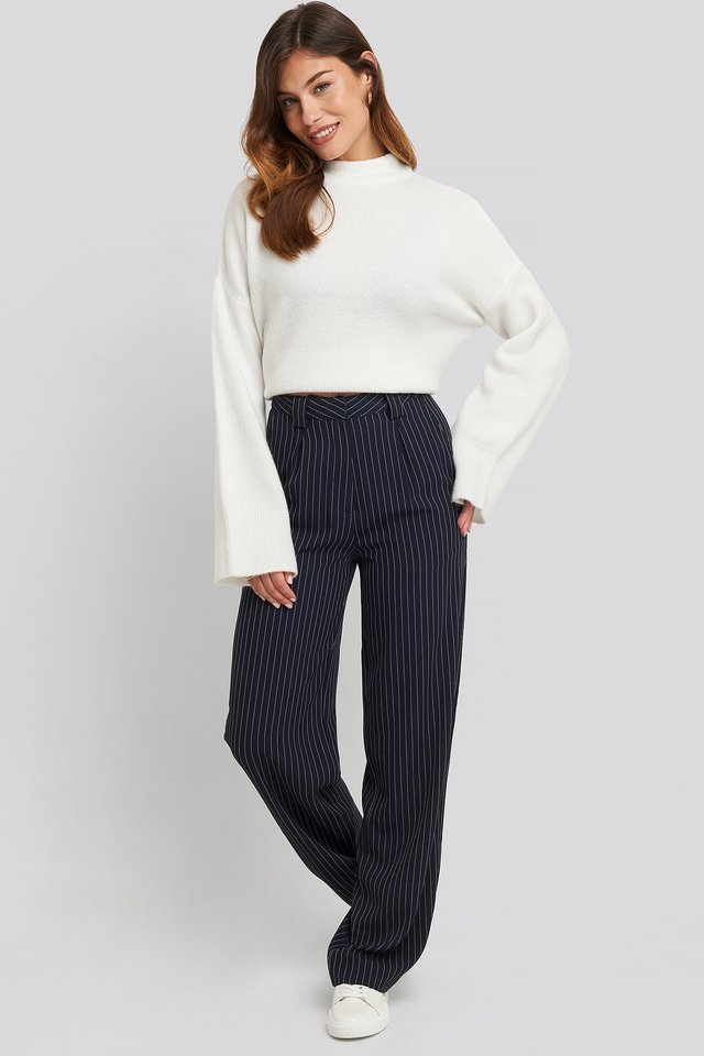Flared Striped Pants Dark Navy
