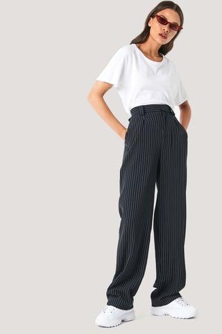 Black/Stripe Flared Striped Pants