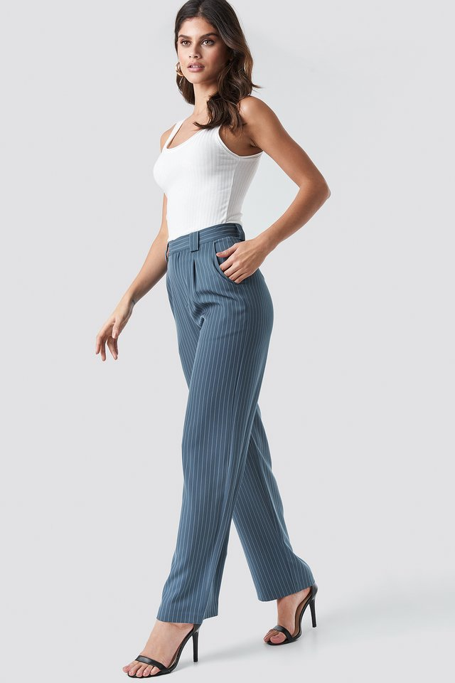 Flared Striped Pants Dusty Blue