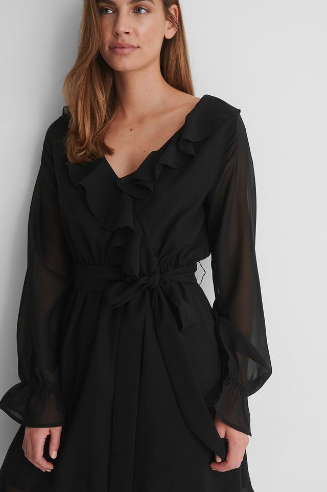 Black Robe Mini À Volants