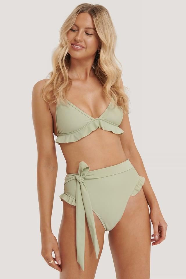 Light Khaki Culotte De Bikini Taille Haute