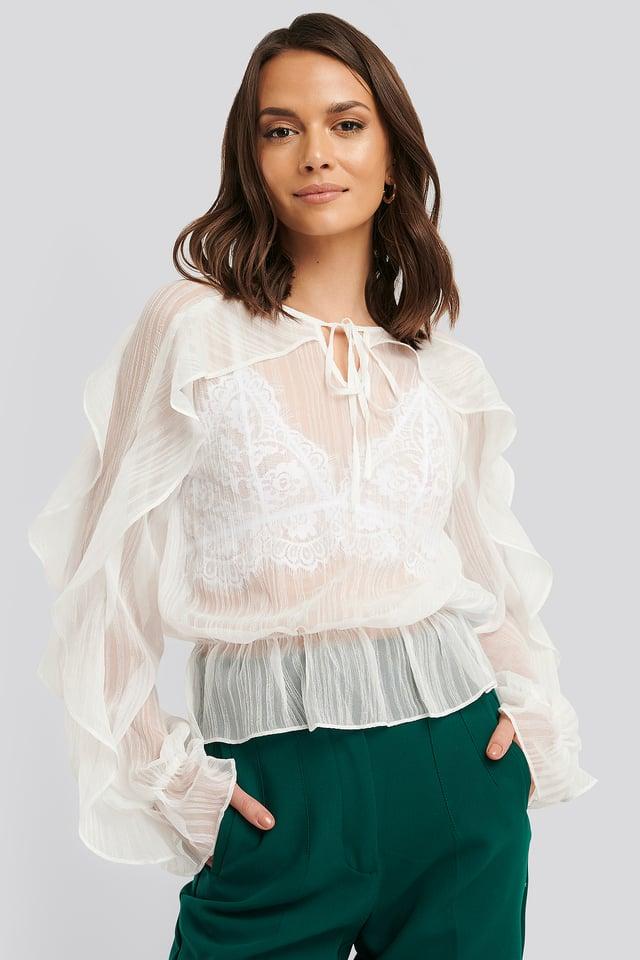 Flounce Sleeve Shirred Blouse White